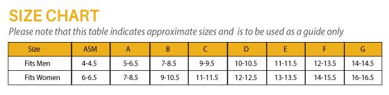 AllSport Flex insert orthotics Size Chart