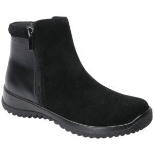 Drew - Kool Black Suede Leather Orthopedic Boots